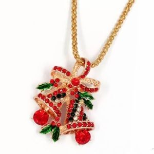 Betsey Johnson Necklace Crystal Christmas Bells